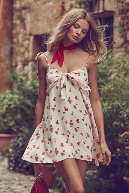 This cherry print designer inspired outfit is great for summer vacation!